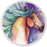 Psychedelic Horse 2018 07 30 Round Beach Towel
