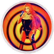 Psychedelic Hypnotic Pin-up Girl Round Beach Towel