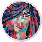 Psychedelic Jane Round Beach Towel