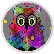 Psychedelic Owl Round Beach Towel