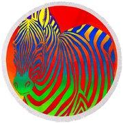 Psychedelic Rainbow Zebra Round Beach Towel