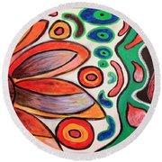 Round Beach Towel featuring the painting Psychedelic Summer by Jolanta Anna Karolska