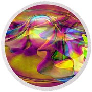 Round Beach Towel featuring the digital art Psychedelic Sun by Linda Sannuti