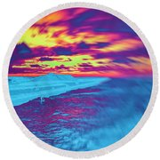 Psychedelic Sunset Round Beach Towel