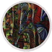 Psychedelic Visions Round Beach Towel
