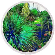 Psychedelic Yuccas. #plant #yucca Round Beach Towel