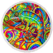 Psychedelizard Round Beach Towel