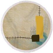 Round Beach Towel featuring the mixed media Psychoactive Substance by Eduardo Tavares
