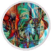 Round Beach Towel featuring the digital art Psychotic by Linda Sannuti