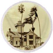 Pt. Fermin Lighthouse Round Beach Towel