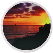 Round Beach Towel featuring the photograph Pt Mugu Sunset by Samuel M Purvis III