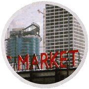 Public Market Round Beach Towel by David Blank