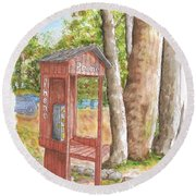 Public Phone In Mammoth Lakes, California Round Beach Towel