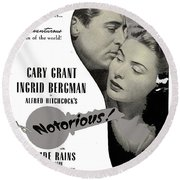 Publicity Poster #1 Notorious  Cary Grant And Ingrid Bergman 1946 2016 Round Beach Towel
