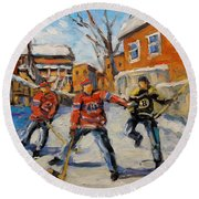 Puck Control Hockey Kids Created By Prankearts Round Beach Towel