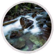 Puddle By The Creek Round Beach Towel