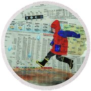 Puddle Jumping Round Beach Towel
