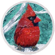 Pudgy Cardinal Round Beach Towel