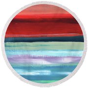 Pueblo- Abstract Art By Linda Woods Round Beach Towel