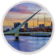 Puerto Madero At Twilight 2 Round Beach Towel