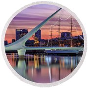 Puerto Madero At Twilight Round Beach Towel