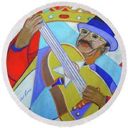 Round Beach Towel featuring the painting Puerto Rican Cuatro  - Ten Strings by Denise Weaver Ross
