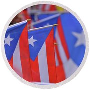 Puerto Rican Flag Round Beach Towel