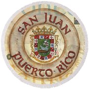 Puerto Rico Coat Of Arms Round Beach Towel