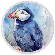 Puffin With Flowers Round Beach Towel by Kovacs Anna Brigitta