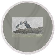 Puffins Kissing Round Beach Towel