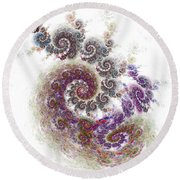 Round Beach Towel featuring the digital art Puffy Spirals by Richard Ortolano