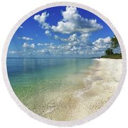 Puffy White Clouds At Delnor-wiggins Round Beach Towel
