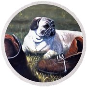 Pug And Boots Round Beach Towel