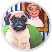 Pug - Beth Ann And Butch Round Beach Towel by Rebecca Korpita