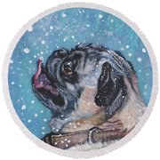 Round Beach Towel featuring the painting Pug In The Snow by Lee Ann Shepard