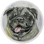 One Eyed Pug Portrait Round Beach Towel