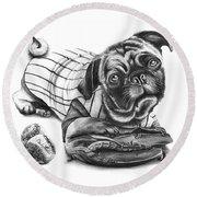 Pug Ruth  Round Beach Towel by Peter Piatt