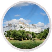 Puglia White City Ostuni With Olive Trees Round Beach Towel