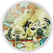 Pugs On A Chinese Print Sofa Round Beach Towel by Joan Thewsey