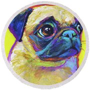 Round Beach Towel featuring the painting Pugsly, A Closer Look by Robert Phelps