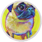 Pugsly Round Beach Towel by Robert Phelps