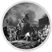Pulling Down The Statue Of George IIi Round Beach Towel