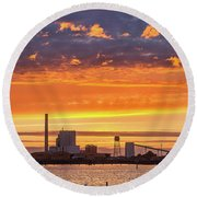 Pulp Mill Sunset Round Beach Towel by Greg Nyquist