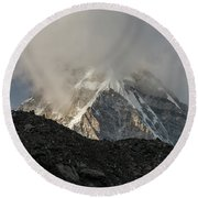 Round Beach Towel featuring the photograph Pumori Dusk Light by Mike Reid