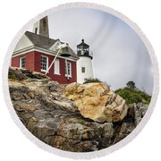 Round Beach Towel featuring the photograph Pumphouse And Tower, Pemaquid Light, Bristol, Maine  -18958 by John Bald
