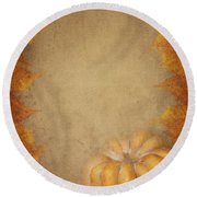 Pumpkin And Maple Leaves Round Beach Towel