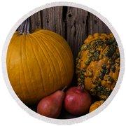 Pumpkin Autumn Still Life Round Beach Towel