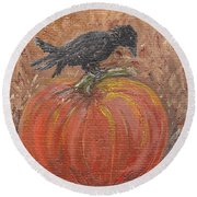 Pumpkin Crow Round Beach Towel
