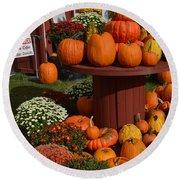 Pumpkin Display Round Beach Towel
