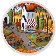 Pumpkin Festival - Folk Art Landscape  Round Beach Towel